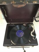 Antique Thorens Swiss Made Phonograph Gramophone Portable Record Player Working