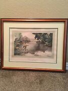 Ralph L.boyer Etching W/ Aquatint After A Big One- Dry Fly Fishing 1936 Framed