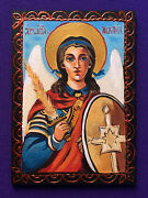 Signed Original Painting Double Aceo Hand Painted Icon Archangel Michael