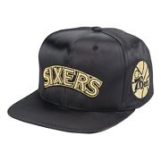 Mitchell And Ness Philladelphia 76ers Gold Toile Satin Snapback Hat Cap