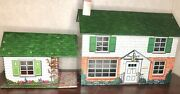 Vintage 1960's Marx Tin Soldier Large Dollhouse Two Story W/attached Gameroom