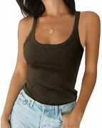 Ivay Womenand039s Summer Tank Top Sexy Scoop Neck Sleeveless Cotton Ribbed Camisole S