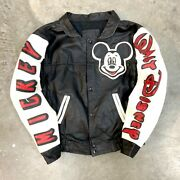 Rare Vtg Mickey Mouse Aop Leather Jacket 22x20 Usa Portrait Spellout 80s 90s
