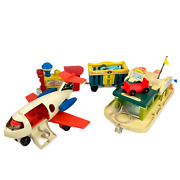 Vintage 70s Fisher Price Lot - Plane Circus Boat Toys Collectors Items