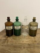 Set Of 4 Antique Apothecary Or Pharmacy Bottle Ground Glass Stopper C.1910