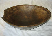 Early American Burl Mixing Bowl Wood - Huge Antique Country Kitchen Primitive