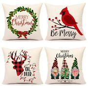5xchristmas Throw Pillow Covers Farmhouse Cushion Case For Sofa Couch 18 X 18