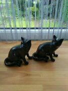 Pair Of Vintage Hand-carved Polished Stone Black Cat Figurines