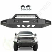 Powder Coated Front Bumper Assembly Winch Ready W Lights For 14-19 Toyota Tundra