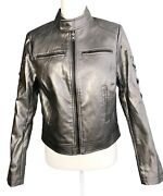 New Venus Pewter Metallic Butter Soft Pleather Bomber Motorcycle Jacket M