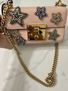 Padlock Star-embroidered Leather Chain Shoulder Bag Retail-2890