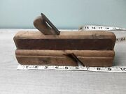 Old Antique Wood Working Planer With Steel Straps Square Nails Hard Wood