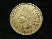 Must Go Sale Au 1903 Indian Head Cent Penny W/ Full Liberty And Diamonds 128