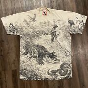 Vintage L Disney Discovery Island All Over Print Shirt Extremely Rare Aop Large