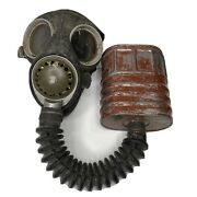 Vintage 1942 Canadian Armed Forces Army Ww2 Wwii Gas Mask W/ 1943 Canister Rare