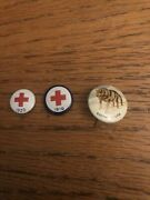 Lot 2 Red Cross Blood Pins 1919 1920 And Tobacco Pin Eskimo Huskie