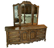 Drexel Brittany Collection French Provincial Dresser With Tri-fold Mirror