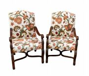 Set Of Two Southwood Furniture Jacobean Upholstered Chairs Fruitwood