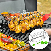 Outdoor Camping Bbq Roaster Stand Chicken Rack Grill Holder With Drip Pan