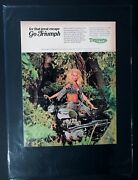 1968 Triumph Motorcycle Great Escape Print Gift Ready To Display Bike Ad 1969