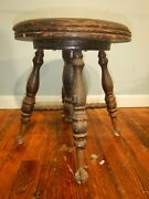 Antique Victorian Piano Stool With Glass Ball Brass Claw Feet