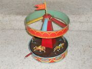 1930's Wolverine Musical Horse Race Merry-go-round Carousel-wind-up-works Fine