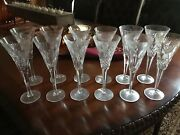 Set Of 12 Waterford Millenium Crystal Champgane Glasses And Coaster 2000 Mint