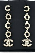 21p Coco Pearl Ivory White Gold Cc Letter Logo Large Dangle Drop Earrings
