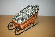 1997 Large Longaberger Traditional Holly Sleigh Basket Liner Protector And Runner