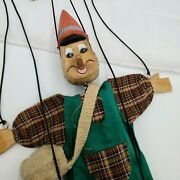 Vintage Hand Carved Marionette Puppet Pinocchio Hand Painted Toy