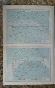 Original Antique Map Of 19th Century 1800s The Northern/southern Hemisphere