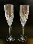 2 Heavy Cut Crystal Champagne Glasses Wedding Anniversary Toast Flutes