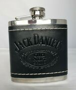 Jack Daniels Old No. 7 Stainless Steel And Black Leather Hip Flask 5oz 2009