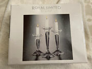 Vtg Royal Limited Crystal Candle Holders 24 Full Lead Czech Made-set Of 3 Nib