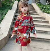 Kids Girl Chinese New Year Asian Traditional Qipao Red Costume Tunic Dress