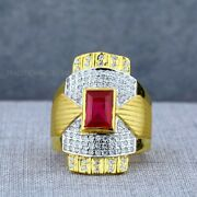 Exclusive Solitaire Heavy 22k Yellow Gold Menand039s Gold Ring Cz Man Jewellery 5