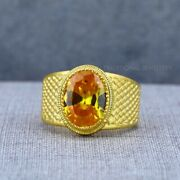 Exclusive Citrine Heavy Stone 22k Yellow Gold Menand039s Gold Ring Cz Man Jewellery 8