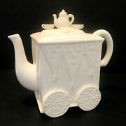 New Lenox Butlers Pantry Teapot Cart Wheels Ivory New Condition With Tag