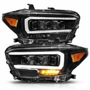 Anzo Full Led Projector Headlights Black Amber For Toyota Tacoma Trd Model Only