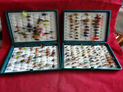 A Good Pair Of Vintage Fox Box Fly Boxes + Collection Of Flies