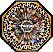 Elegant 3and039 Black Marble Coffee Dining Table Top Semi Precious Stones Inlaid Work