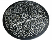 36 Black Marble Glorious Table Top Abalone Shell Inlaid Work Hallway Decor Gift