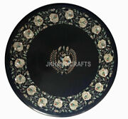35 Black Marble Coffee Table Top White Mother Of Pearls Inlaid Christmas Gift