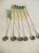 6 Cocktail Spoon Set With Semi Precious Stones And Vintage 1938 Brazilian Coins
