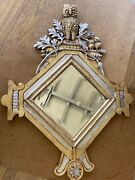Antique Vintage Owl Wood Carved Gold And Silver Leafing Black Forest Mirror