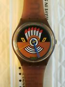 Nos Vintage Swatch Watch 1986 Ruffled Feathers Gf100 With Case New