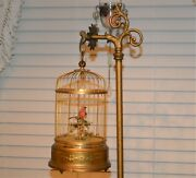 Antique Mechanical Automaton Singing Bird W/ Victorian Stand Early 1900's Japan