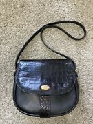 Bally Vintage Authentic Small Black Croc Stamped Leather Bag W/ Gold Hardware