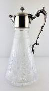 20th Century Silver Plated And Crystal Glass Claret Jug Pitcher Decanter