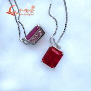 Synthetic Emerald Shape Ruby Sapphire Pendant 925 Silver Necklace Lady Jewelry